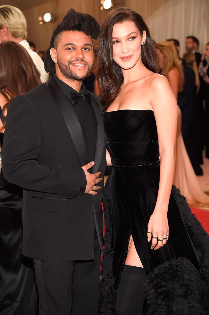 "**The Weeknd and Bella Hadid** <br><br> From dedicated songs to Victoria's Secret catwalks, their relationship has had its fair share of public moments. First spotted together at Coachella in 2015, and by December of that year, Hadid had even featured in the music video for The Weeknd's song ""In The Night"". From trips to Japan to Met Gala appearances, the pair were going strong until their break-up in November 2016.  <br><br> In November 2017, a mere two weeks after his break up with Selena Gomez, he was spotted leaving Hadid's NYC apartment and officially rekindled their romance at Coachella—a full-circle if I've ever seen one. The pair have reconciled and split up twice, since August 2019."