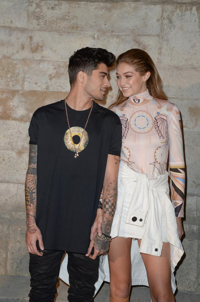 "**Zayn Malik and Gigi Hadid** <br><br> Besides being one of the most famous couples in Hollywood, these two have remained quite tight-lipped on their relationship status. Sparking dating rumours in 2015, Hadid was spotted wearing a necklace with the letter ""Z"" on it, in January 2016. By March 2018, the pair reportedly broke up, but were an item again come April. Splitting up again in January 2019, the pair were secretly back together by December 2019 and look to stay that way.  <br><br> Spending quarantine together, the pair recently announced that they are expecting their first child together, in April 2020."