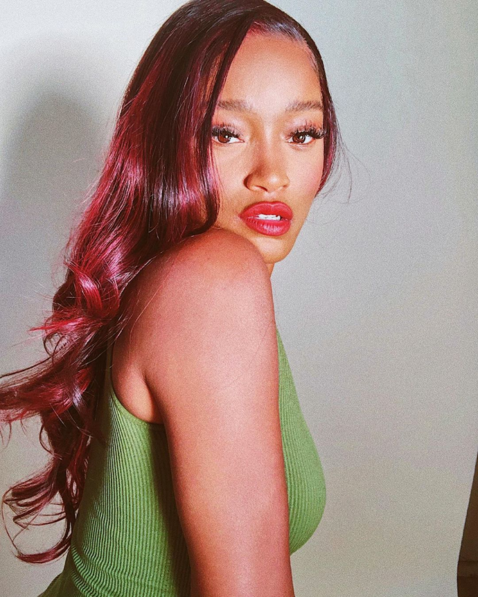 **Keke Palmer**<br></br> She's gone lilac and she's gone lime, but Palmer's most recent colour makes a convincing case for cherry-red over deep brunette.