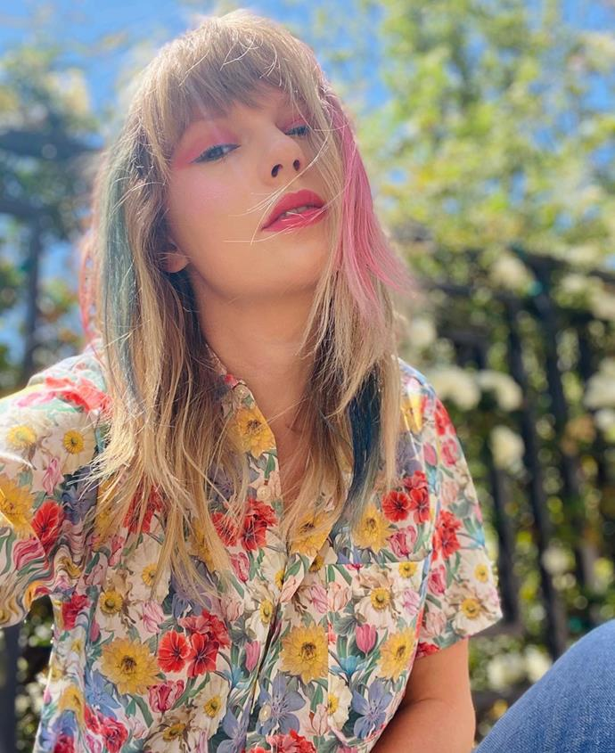 **Taylor Swift**<br><br>  In keeping with the pastel palette of Swift's *Lover* album art, the singer took to Instagram to show off rainbow-hued highlights in on May 18, 2020.