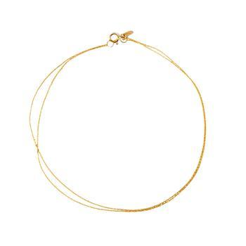 "'Double Chain Anklet', $245 at [SARAH AND SEBASTIAN](https://www.sarahandsebastian.com/products/double-chain-anklet-gold-1|target=""_blank""