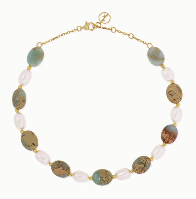 "'Gold-Plated, Serpentine And Pearl Anklet' by Anissa Kermiche, $224.09 at [NET-A-PORTER](https://www.net-a-porter.com/en-au/shop/product/anissa-kermiche/gold-plated-serpentine-and-pearl-anklet/1171221|target=""_blank""