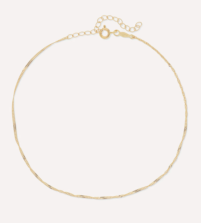 "'Sweet Nothing Gold Anklet' by CATBIRD, $232.80 at [NET-A-PORTER](https://www.net-a-porter.com/en-au/shop/product/catbird/net-sustain-sweet-nothing-gold-anklet/1216604?gclsrc=aw.ds&cm_mmc=Google-ProductSearch-AU--c-_-NAP_EN_AU_PLA-_-NAP+-+AU+-+GS+-+Designer+-+Class_Jewelry+-+Type_Fashion+Jewelry%C2%A0-%C2%A0High%C2%A0-%C2%A0BT--Fashion+Jewelry+-+Body+Jewelry-_-__aud-307393974654:pla-473172577339_APAC&gclid=CjwKCAjwwYP2BRBGEiwAkoBpAhDJQYGq4qBc_HZnmChpSHDhZGq-joYNsSwoqX_zRL8RmcJZb-RKuhoC6mQQAvD_BwE&gclsrc=aw.ds|target=""_blank""