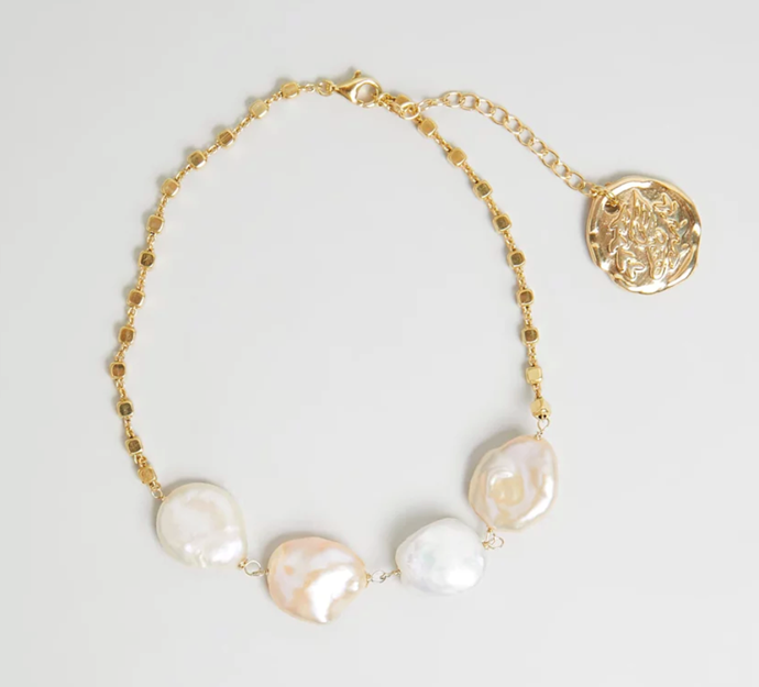 "'Pearl Coins Anklet' by Ancient Greek Sandals, $112 at [THE ICONIC](https://www.theiconic.com.au/pearl-coins-anklet-964743.html|target=""_blank""