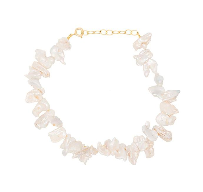 """'Fistiki Gold-Plated Anklet' by Hermina Athens, $192 at [FARFETCH](https://www.farfetch.com/au/shopping/women/hermina-athens-fistiki-gold-plated-anklet-item-15112432.aspx?storeid=9359