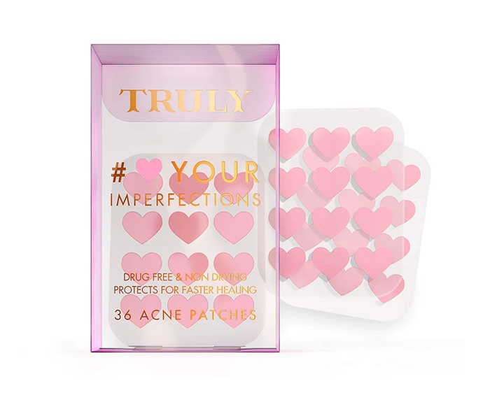 "**#Heart Your Imperfection Blemish Treatment Acne Patches, $15.33 by [Truly Beauty](https://trulybeauty.com/products/heart-acne-patches?_pos=3&_sid=05bb42b5d&_ss=r|target=""_blank""