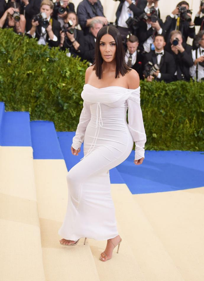 **Kim Kardashian West in Vivienne Westwood (2017)** <br><br> Like Sarah Jessica Parker, KKW is known for her headline-grabbing Met Gala looks, so her 2017 Vivienne Westwood gown (chosen as part of her pared-back style transformation following her robbery incident in late 2016) was refreshing.