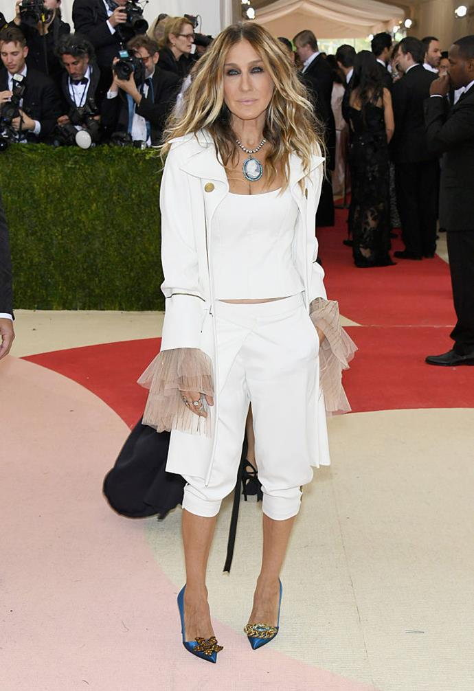 """**Sarah Jessica Parker in Monse (2016)** <br><br> By 2016, we were used to Sarah Jessica Parker wearing billowing ball gowns to the Met, so at that year's ball, we were surprised by her Monse outfit (inspired by the stage musical *Hamilton*). Regardless, SJP still looked chic, and even clapped back at a [blogger](https://www.harpersbazaar.com/uk/fashion/fashion-news/news/a37074/sarah-jessica-parker-met-gala-2016/