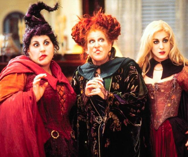 **Winifred, Sarah and Mary from *Hocus Pocus*** <br><br> The definition of iconic, *Hocus Pocus* is one of the best sister-flicks to come out of the '90s. The Sanderson sisters of Salem, Massachusetts are executed for practising witchcraft in 1693, however they managed to place a curse that allows them to be revived by a virgin on All Hallow's Eve. When they are successfully brought back, the trio create havoc and seek revenge, 300 years later.