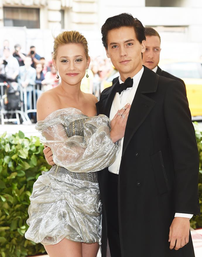 Lili Reinhart and Cole Sprouse attend the Met Gala in 2018. *GETTY*