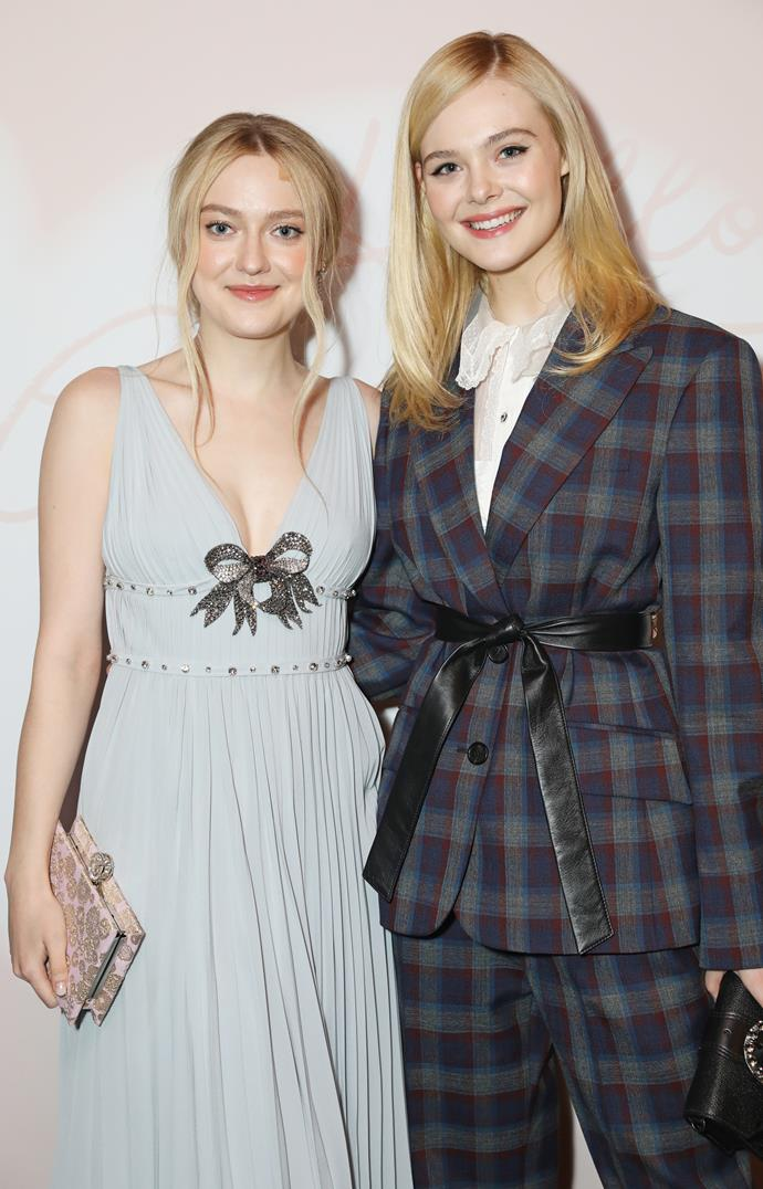 **Dakota and Elle Fanning** <br><br> While most of us recognise Elle Fanning from her latest T.V. series, playing Catherine in *The Great*, it seems that she and older sister Dakota have royal blood after all. As 22nd great-granddaughters of King Edward III, their blood line also connects them to Kate Middleton's mother, Carole Goldsmith, who is the distant granddaughter of King Edward III.  <br><br> Which means that the actor-slash-siblings are, not only the 21st cousins to the Duchess of Cambridge, but the coolest sisters in Hollywood.