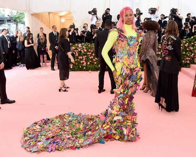 **Keiynan Lonsdale in Manish Arora at the 2019 Met Gala** <br><br> Lonsdale, of *The Flash* and *Love, Simon* fame, was one of the standout attendees at the 2019 Met Gala, where he wore this Manish Arora gown that easily embodied the 'Camp' theme. Lonsdale's gown, embroidered with hundreds of small butterflies, was one of several looks on the night that spoke for LGBTQ+ visibility.