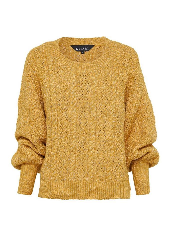 "**'Lexi' knit jumper by Kivari, $199 at [Kivari](https://fave.co/2ZB0Sld|target=""_blank""|rel=""nofollow"")**<br><br>  *Shop [here](https://fave.co/2ZB0Sld|target=""_blank""|rel=""nofollow"")*"