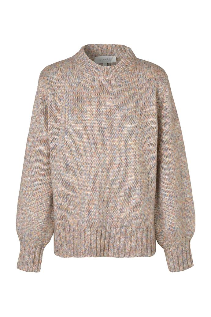 """**'Gigi' knit in prism speckle by Steele, $229 at [Steele](https://fave.co/3bZR4Uh