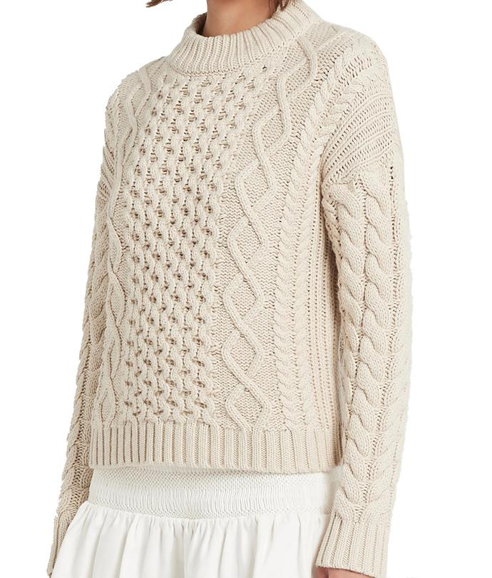 """**'Ava' Cable Sweater by SIR THE LABEL., $300 at [SIR THE LABEL.](https://fave.co/2TBWbUi