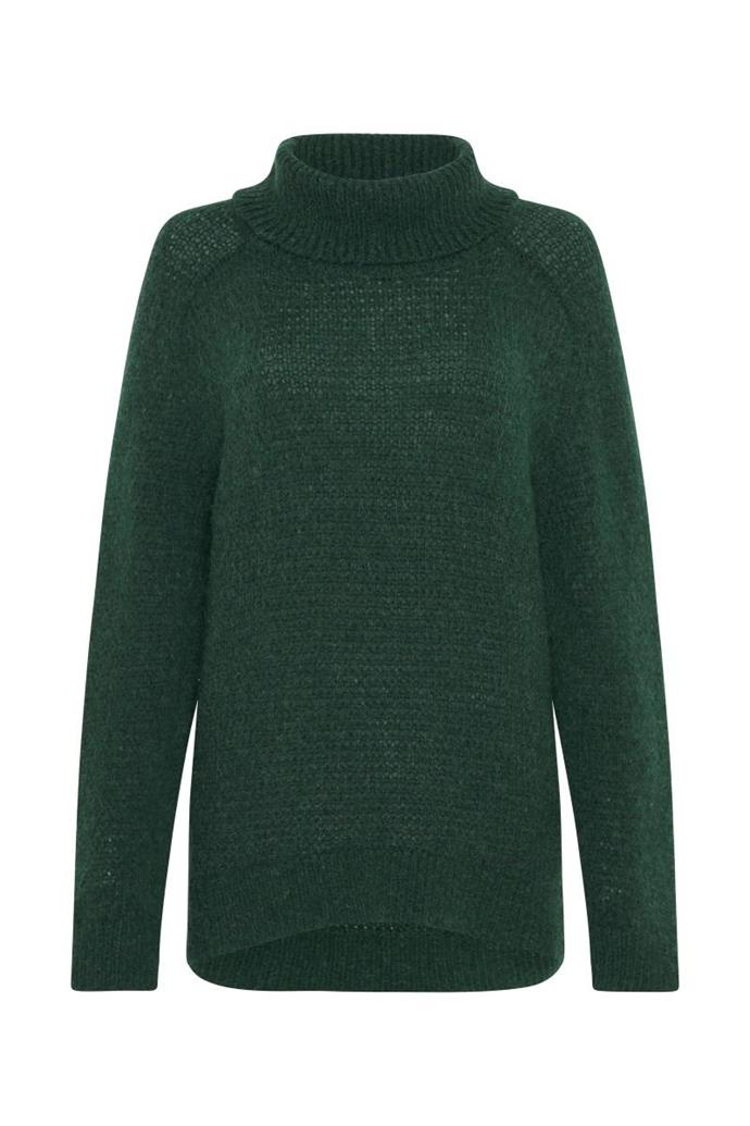 """**'The Outlier' oversized roll neck sweater in green by sass & bide (other colours available), $262.50 at [sass & bide](https://fave.co/2M0SHqa