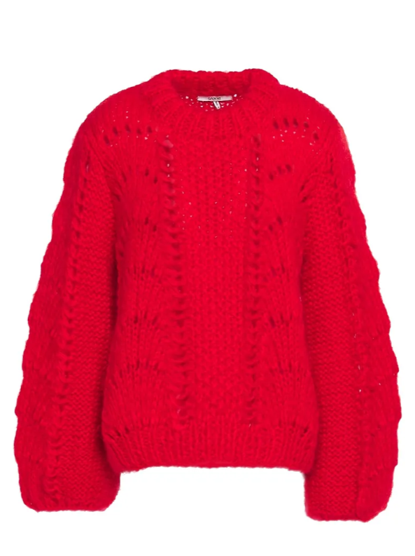 """**'Julliard' open-knit mohair and wool-blend sweater by Ganni, $354 at [The Outnet](https://fave.co/3d5M6qr