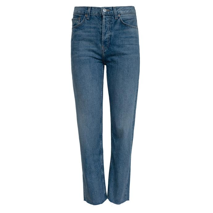 """**Blue jeans**<br><br> Jeans by Re/Done, $370 at [The Undone](https://www.theundone.com/collections/denim/products/high-rise-stove-pipe-medium-vain