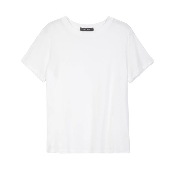 """**A white t-shirt**<br><br> T-shirt, $99 by [Jac + Jack](https://jacandjack.com/collections/womens-tees-tanks/products/verte-organic-cotton-tee-white