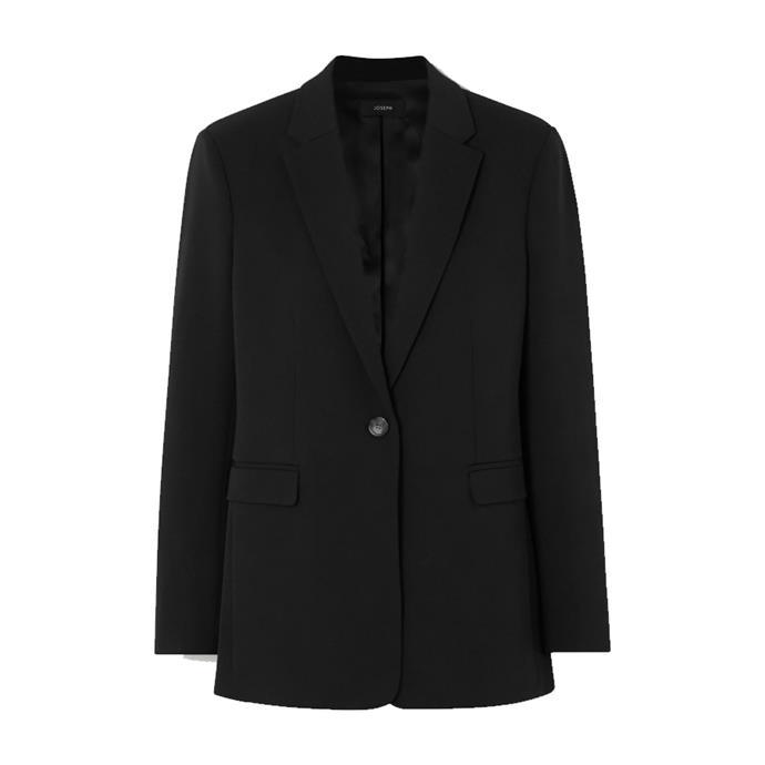 "**A black blazer**<br><br> Blazer by Joseph, $940.25 at [NET-A-PORTER](https://www.net-a-porter.com/en-au/shop/product/joseph/oversized-wool-blend-blazer/1201032|target=""_blank""|rel=""nofollow"")."