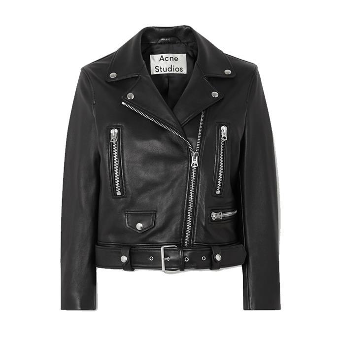 "**A leather jacket**<br><br> Jacket by Acne Studios, $2,327 at [NET-A-PORTER](https://www.net-a-porter.com/en-au/shop/product/acne-studios/leather-biker-jacket/1214054|target=""_blank""|rel=""nofollow"")."