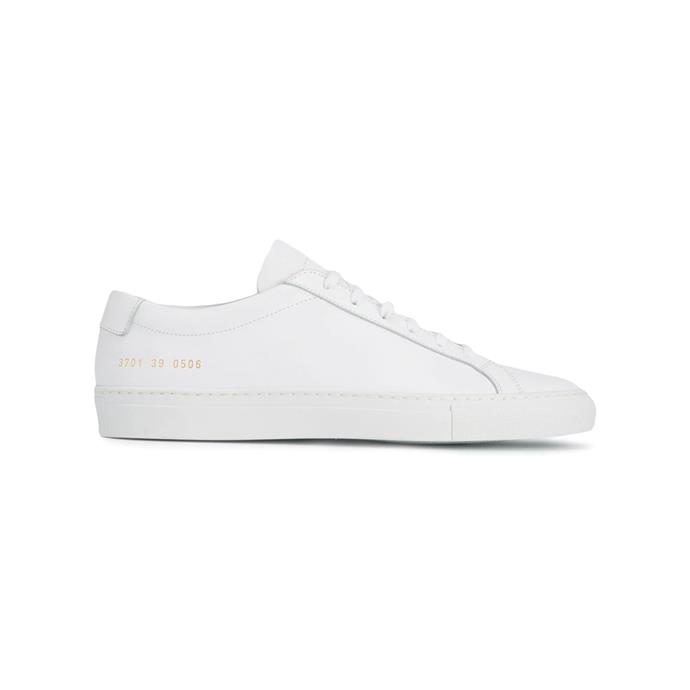 """**White sneakers**<br><br> Sneakers by Common Projects, $596 at [Farfetch](https://www.farfetch.com/au/shopping/women/common-projects-original-achilles-leather-sneakers-item-12426748.aspx
