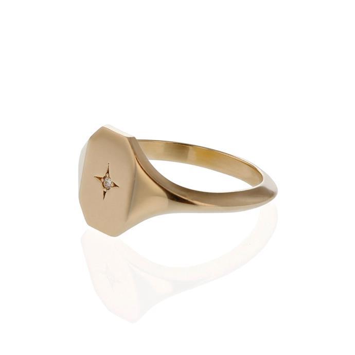 "**A signet ring**<br><br> Ring, $655 by [Sarah & Sebastian](https://www.sarahandsebastian.com/products/insignia-signet-yellow-gold|target=""_blank""|rel=""nofollow"")."