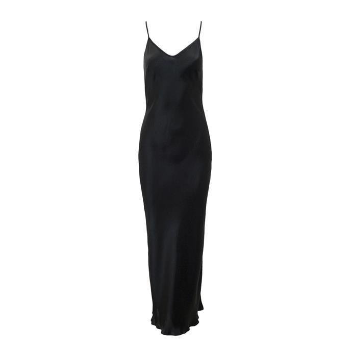 "**Slip dress**<br><br> Dress by Paris Georgia, $295 at [The Undone](https://www.theundone.com/collections/dresses/products/paris-georgia-basics-emma-slip-black|target=""_blank""|rel=""nofollow"")."