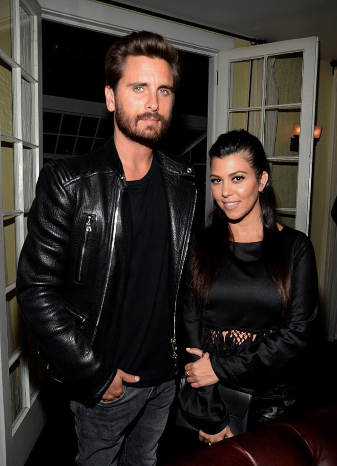 "**Kourtney Kardashian and Scott Disick**<br><br>  One of the most memorable [on-again, off-again celebrity relationships](https://www.elle.com.au/celebrity/celebrity-on-off-relationships-23499|target=""_blank"") to date, Kourtney Kardashian and Scott Disick have had their fair share of public cheating rumours (most of which were aired on *Keeping Up With The Kardashians*).<br><br>  In 2008, the show famously [depicted](https://www.complex.com/pop-culture/2017/05/scott-disick-timeline-of-ridiculous-behavior/scott-disick-texts