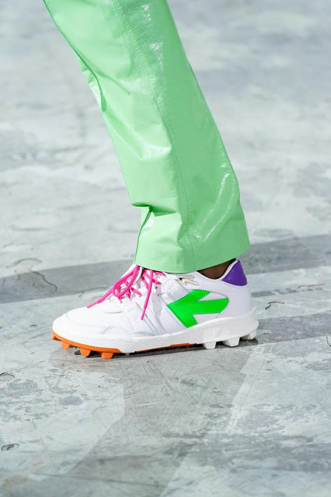 **Neon and bold patterns** <br><br> As much as Off-White's sneakers are a holy grail in the fashion world, Virgil Abloh seems to one-up himself each season, and this year, showed us there's even more fun to be found in brightly-coloured, unconventional sneaker styles. If your wardrobe consists of mostly-monochromatic looks, a little colour (or in this case, some candy-coloured neon) won't hurt one bit. <br><br> *Pictured: Off-White autumn/winter '20*