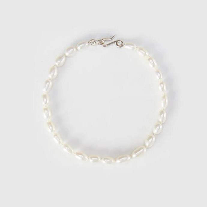 """Anklet, $205 by [Holly Ryan Jewellery](https://hollyryan.com.au/products/pearl-anklet-silver-clasp
