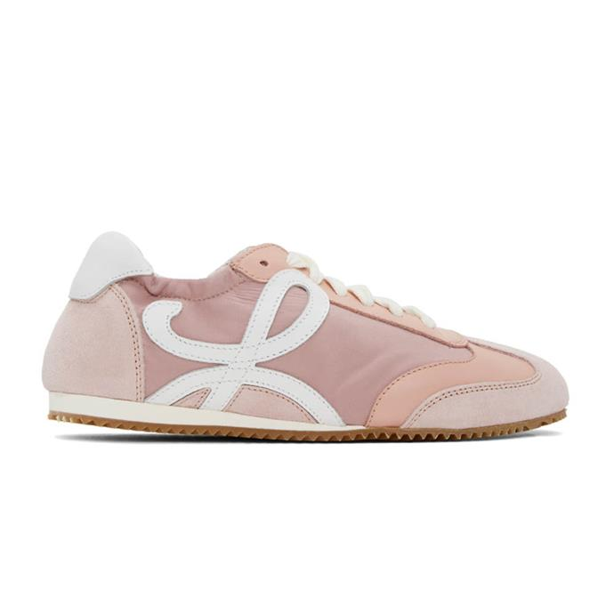 """*Pink and white ballet runner sneakers by Loewe, $840 at [SSENSE](https://fave.co/2zo9FMJ target=""""_blank"""" rel=""""nofollow"""").*"""