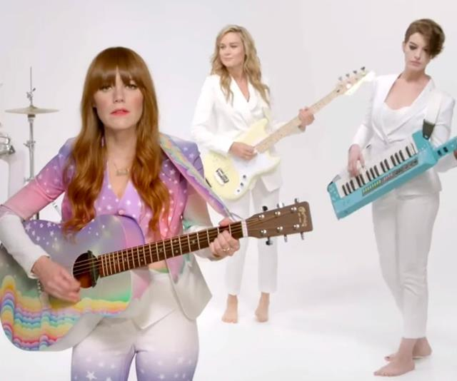 "**Brie Larson, Anne Hathaway and Kristen Stewart in Jenny Lewis' video for ""Just One Of The Guys""** <br><br> In the ultimate girl band moment, actors Brie Larson, Anne Hathaway and Kristen Stewart join forces in Jenny Lewis' ""Just One Of The Guys"". The video opens with Lewis' rocking a psychedelic rainbow suit, while being backed by the trio, who are barefoot in white suits, playing instruments and singing. Could they get any cooler? <br><br> *Watch it [here](https://www.youtube.com/watch?v=Irvcf6dCk-k