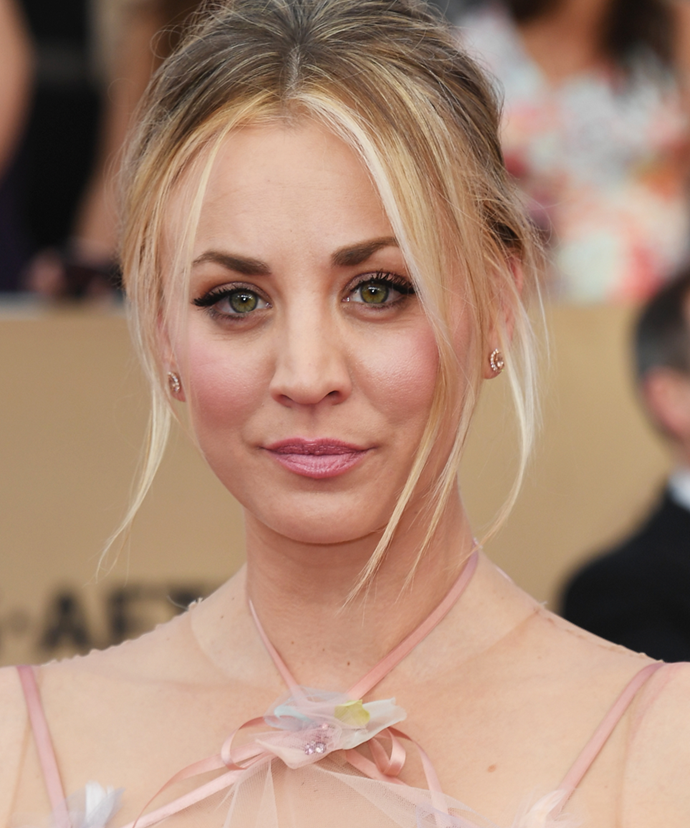 "**Kaley Cuoco**<br><br>  In 2016, *The Big Bang Theory* actress—who has previously been open about her nose and breasts done—opened up about her experience with using fillers.<br><br>  ""Recently, I had a filler in a line in my neck I've had since I was 12,"" she [said](https://www.cosmopolitan.com/entertainment/celebs/a8304570/kaley-cuoco-plastic-surgery-confidence/