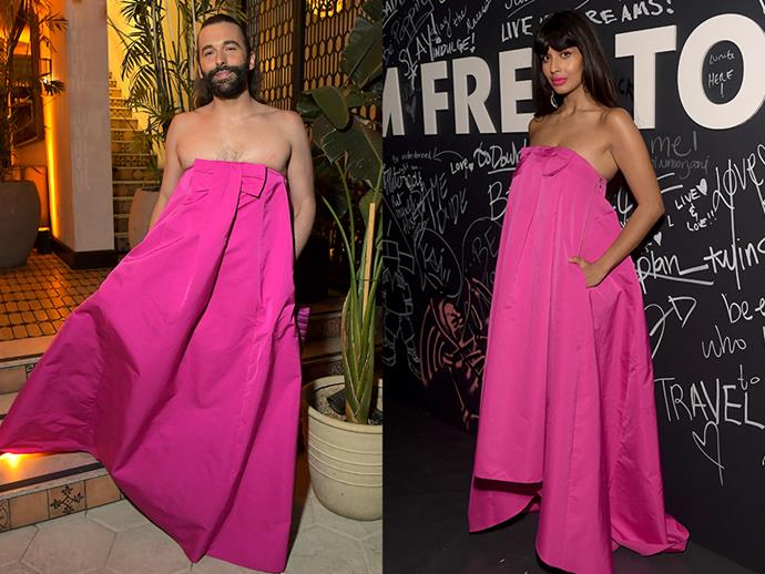 """**Jonathan Van Ness and Jameela Jamil** <br><br> The *Queer Eye* star looked stunning in a hot pink, strapless trapeze Rochas dress while attending Netflix's 2019 Emmy's after party. However, this was the same head-turning gown that Jameela Jamil wore at the YSL Libre launch party just days before. Both rocking the look, Jamil confirmed our thoughts by writing on Twitter: """"YOU DON'T NEED TO SAY IT! I KNOW @jvn WORE IT BEST BENCHES!"""""""