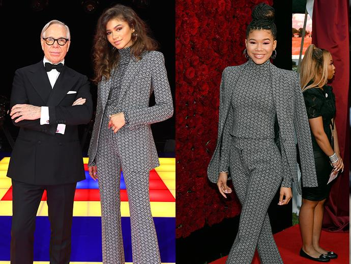 **Zendaya and Storm Reid** <br><br> While the two may be co-stars on the hit-drama *Euphoria*, they also know how to co-dress too. On October 5 2019, Reid attended the Tyler Perry Studios opening wearing a black and white printed power suit, that was previously spotted on Zendaya in March of the same year. The co-ordinated ensemble is actually from Zendaya's fashion collaboration with Tommy Hilfiger.