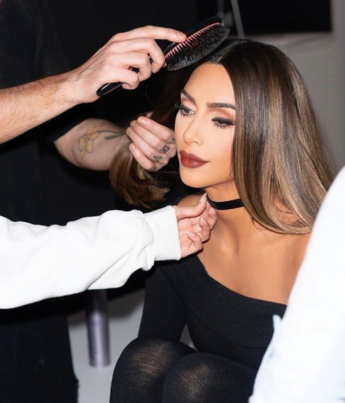 **Kim Kardashian West**<br></br> Kardashian West makes a convincing case for the wearability of caramel highlights over a dark chocolate colour, keeping the thickest shade-lifted sections a few inches back from her face.