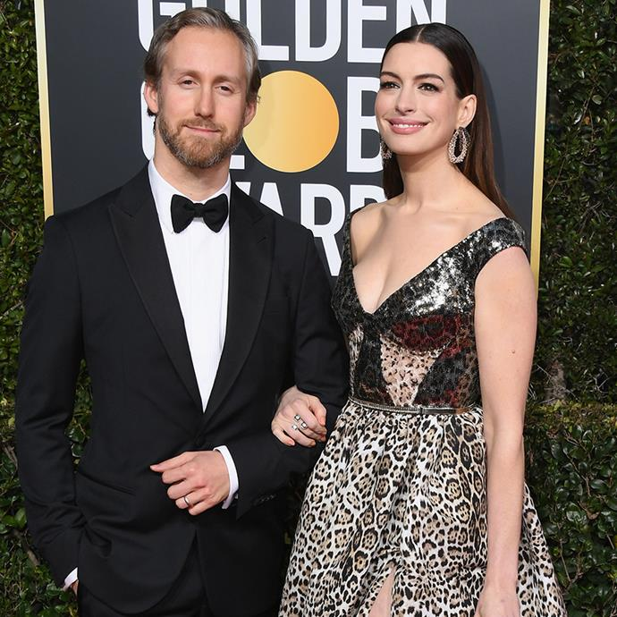 """**Anne Hathaway and Adam Shulman** <br><br> When she's not playing the Queen of Genovia, Anne Hathaway attends film festivals. And it was at the Palm Springs Film Festival in 2008, where she was introduced, by a mutual friend, to her now-husband Adam Shulman. <br><br> The two have been married since 2012, and have had two sons together, Jonathan and Jack. However, when referring to her marriage in an interview with *[People](https://people.com/movies/anne-hathaway-jokes-that-she-only-married-adam-shulman-because-she-couldnt-get-emily-blunt/