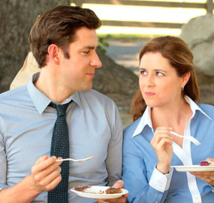 **Jim Halpert and Pam Bessley in *The Office U.S.*** <br><br> Any fan of *The Office* would know that these two were end-game from the start. From their air high-fives to their pranks on Dwight, the romantic tension between these two could have been cut with a knife. From their first kiss to their Niagara Falls wedding, these lovebirds have set the bar high.