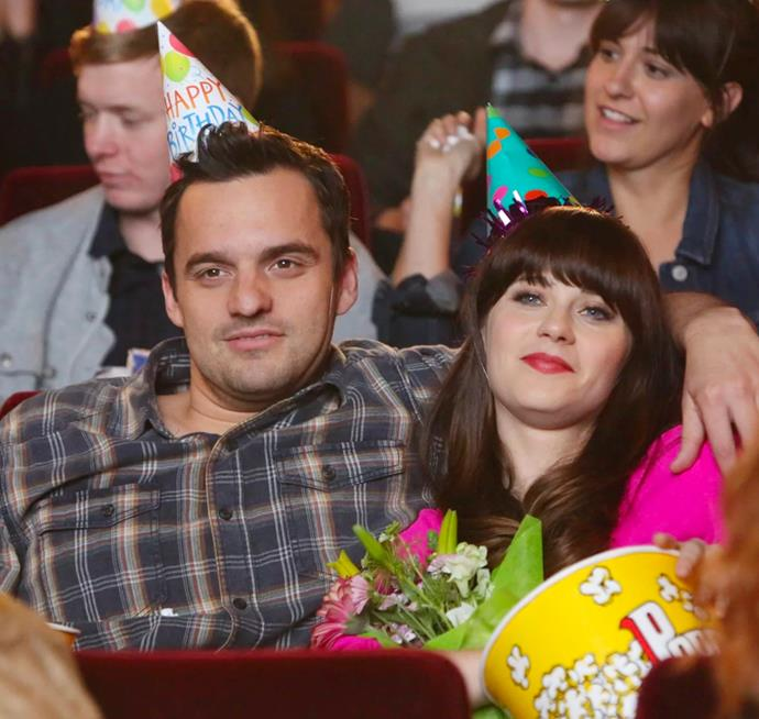 **Nick Miller and Jessica Day in *New Girl*** <br><br> After countless episodes of will-they, wont-they, these two are the ultimate couple goals. Both are equal parts funny and adorable, and their wedding and adoption of their dog, Mario, confirmed that exact theory.