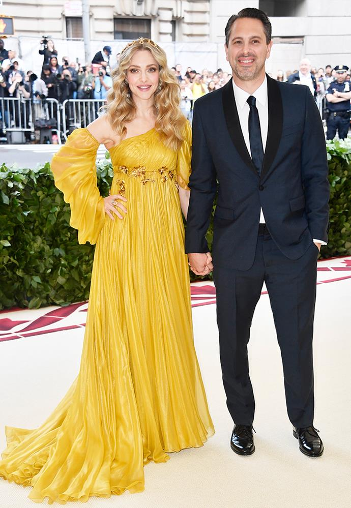 **Amanda Seyfried and Thomas Sadoski** <br><br> Meeting as co-stars on the film *The Last Word*, their on-screen chemistry was so strong that they began an off-screen romance.  <br><br> After dating for less than a year, the pair were married by March 2017. Since their nuptuals, they welcomed a daughter, Nina, in April 2017.