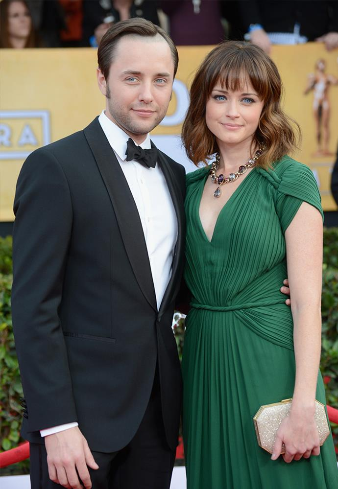 **Alexis Bledel and Vincent Kartheiser** <br><br> The pair met while playing secret lovers on the series *Mad Men*, and manged to keep their relationship relatively secret for years. Despite a few red carpet appearances, their coupling was still news to some when they were married in 2014. <br><br> Following the news of the *Gilmore Girls* revival, the pair welcomed their first child together in 2015. Looks like Rory Gilmore is all grown up.