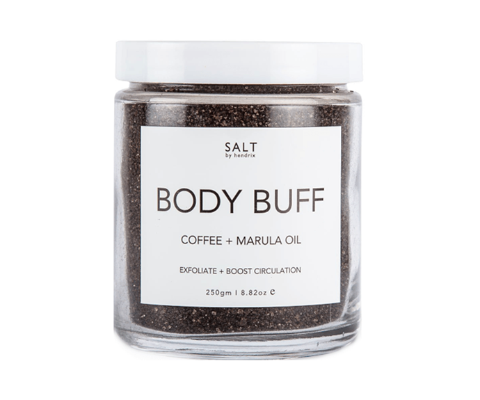 """**Body Buff Coffee + Marula Oil Scrub by Salt by Hendrix, $26.95 at [Adore Beauty](https://www.adorebeauty.com.au/salt-by-hendrix/salt-by-hendrix-body-buff-coffee.html