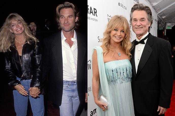 **Goldie Hawn and Kurt Russell** <br> **Together For:** 36 years <br><br> Married twice with two children, Kate and Oliver Hudson from her second marriage, Goldie Hawn met fellow actor Kurt Russell in 1984 on set of *The One and Only, Genuine, Original Family Band*, and have been together ever since. The couple chose to never marry and have a son together, Wyatt Russell, who has followed in his family's footsteps as an actor.