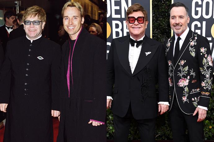 "**Elton John and David Furnish** <br> **Together For:** 27 years <br><br> Meeting in 1993, Elton John and David Furnish met through a mutual friend at a dinner party. Sober for three years following more than a decade of substance abuse, the singer was learning to live life without drugs or alcohol. He returned to his estate in Windsor, England, and decided to expand his social circle. <br><br> ""I wanted to meet new people so I rang up a friend in London and said, 'Could you please rattle some new people together for dinner here Saturday?'"" John told *[Parade](https://parade.com/40380/dotsonrader/elton-john-web-exclusive/