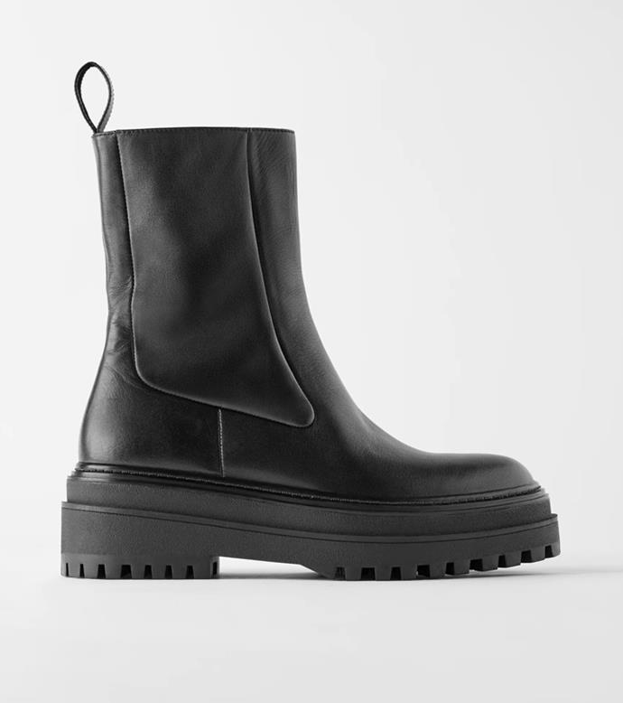 "**'Flat Leather Ankle Boots With Track Sole', $219 at [ZARA](https://www.zara.com/au/en/flat-leather-ankle-boots-with-track-sole-p16182001.html?v1=53503616&v2=1010069|target=""_blank""