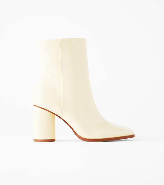 "**'Faux Patent Finish Heeled Ankle Boots', $99 at [ZARA](https://www.zara.com/au/en/faux-patent-finish-heeled-ankle-boots-p13114510.html?v1=53482715&v2=1010069|target=""_blank""