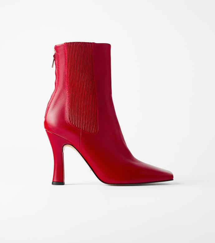 "**'High Heel Stretch Leather Ankle Boots', $239 at [ZARA](https://www.zara.com/au/en/high-heel-stretch-leather-ankle-boots-p12172510.html?v1=43883482&v2=1010069|target=""_blank""