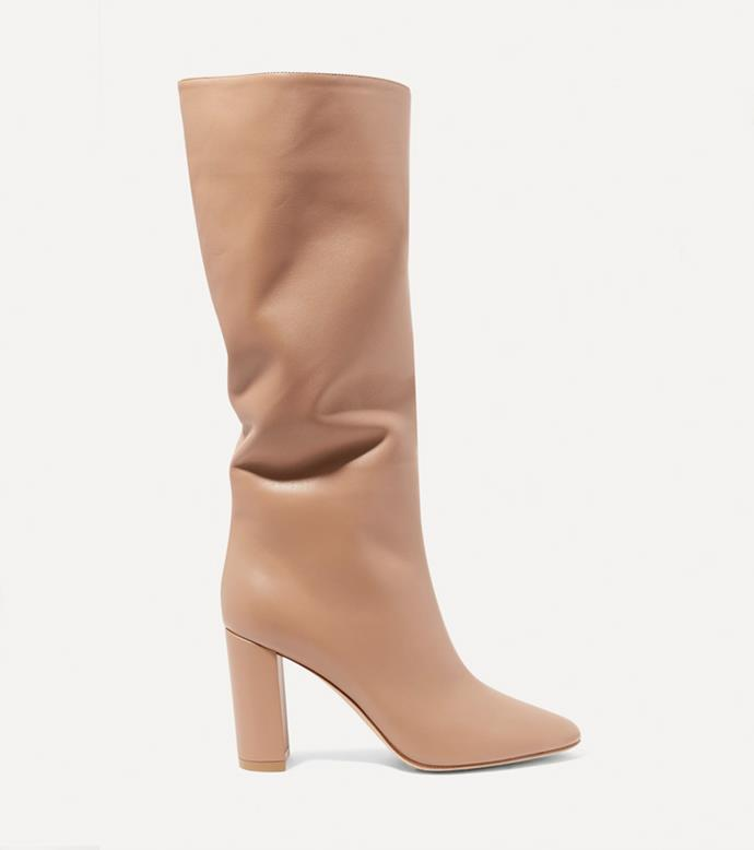 "**'Laura 85 leather knee boots' in Taupe by Gianvito Rossi, $2058.50 at [NET-A-PORTER](https://www.net-a-porter.com/en-au/shop/product/gianvito-rossi/laura-85-leather-knee-boots/1150240|target=""_blank""
