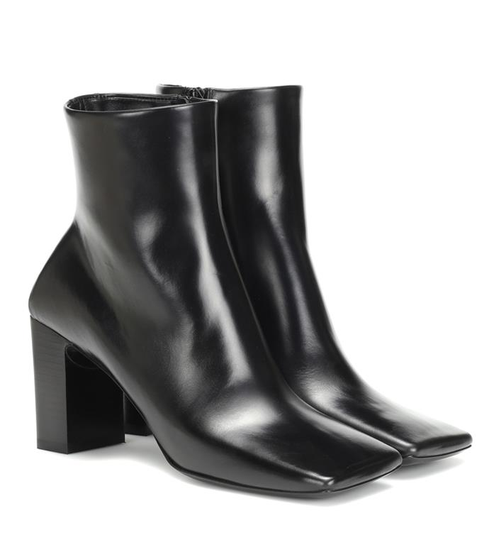 "**'Double Square leather ankle boots' by Balenciaga, $1141 at [MyTheresa](https://www.mytheresa.com/en-au/balenciaga-double-square-leather-ankle-boots-1216087.html?gclid=CjwKCAjw5Ij2BRBdEiwA0Frc9WTQxhAU-lkIaaIUbDk-8NiJwhziZQoaqG4Z6zv0L1bNuAnGTmQMaRoCAfAQAvD_BwE&utm_source=sea_pla&utm_medium=google&utm_campaign=google_sea&ef_id=CjwKCAjw5Ij2BRBdEiwA0Frc9WTQxhAU-lkIaaIUbDk-8NiJwhziZQoaqG4Z6zv0L1bNuAnGTmQMaRoCAfAQAvD_BwE:G:s?pr=lptest2|target=""_blank""|rel=""nofollow"")**"